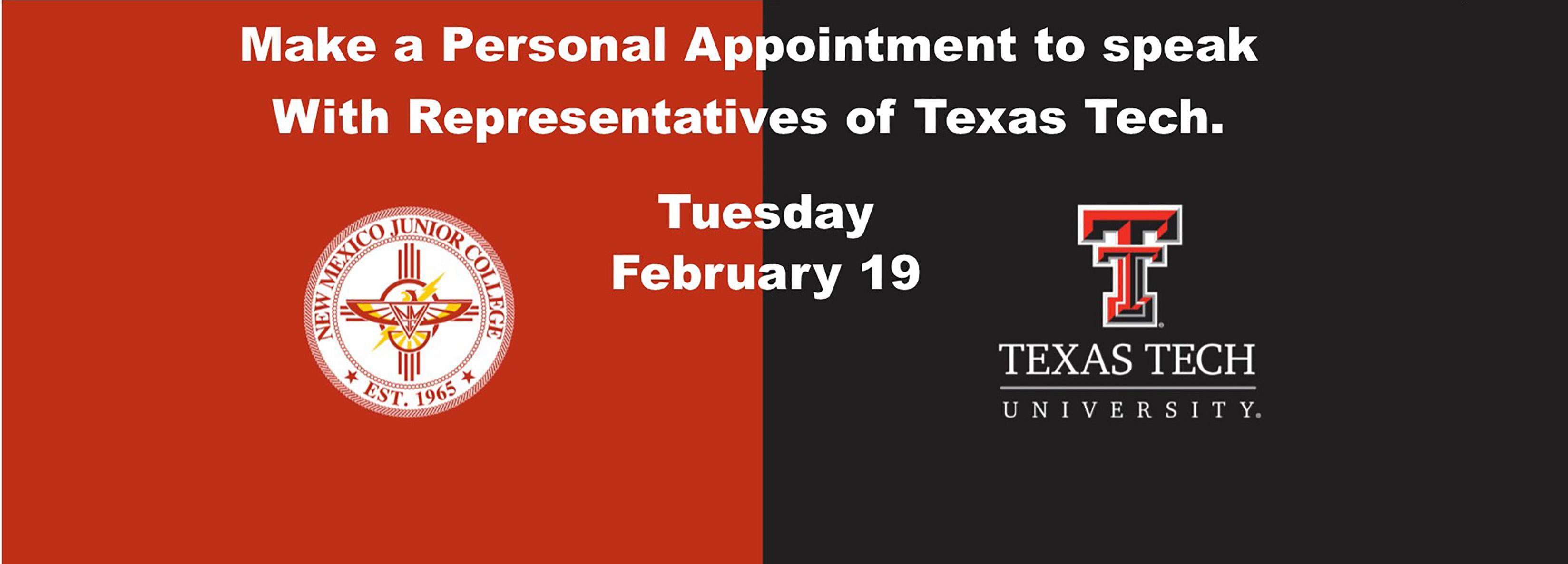 Speak with Texas Tech Tues Feb 19
